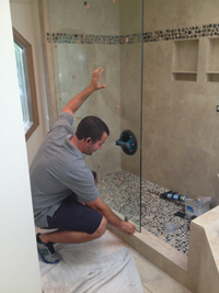 Shower Door During Installation